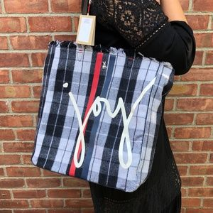 ED ELLEN DEGENERES OAX FLANNEL PLAID TOTE (NEW)